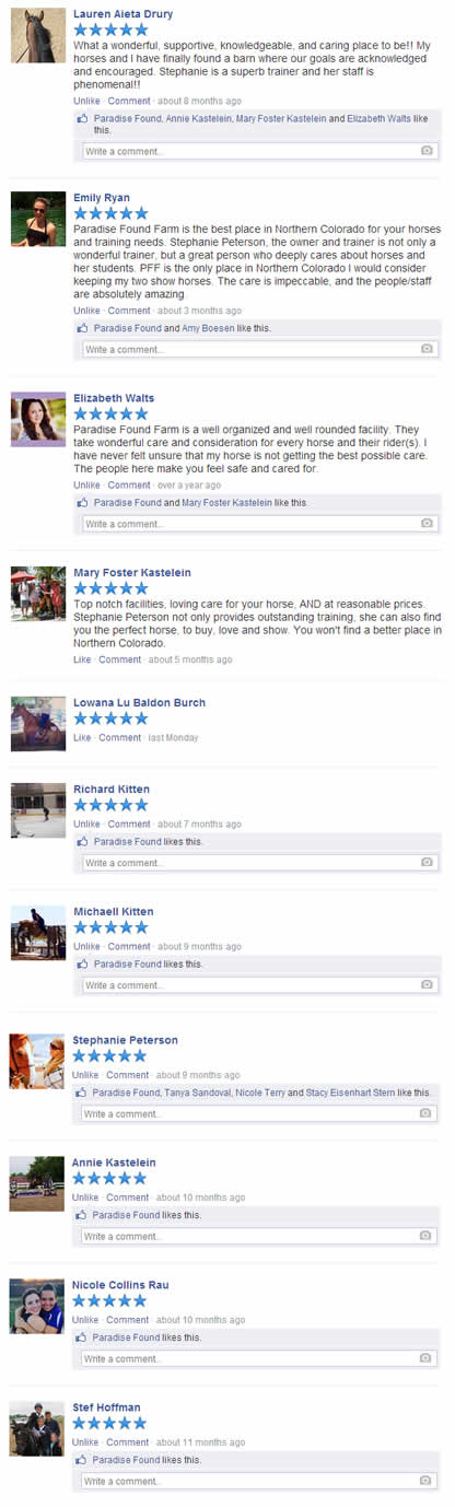 Reviews of Paradise Found Farm Horse Boarding